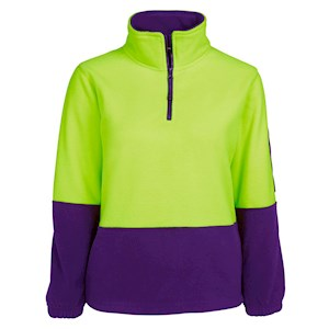 JB's Wear Womens Hi Vis 1/2 Zip Polar Fleecy